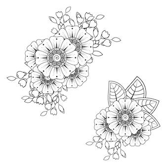 Fleur de mehndi pour le dessin au henné. décoration dans un style ethnique oriental, indien.