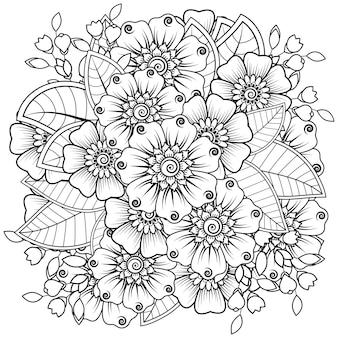 Fleur de mehndi pour le henné isolé sur blanc