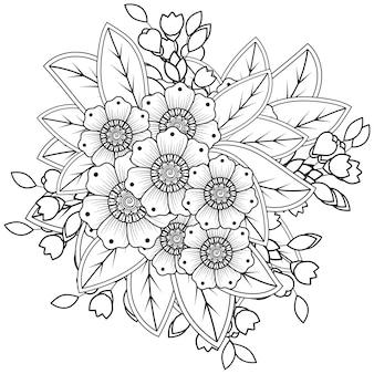 Fleur de mehndi pour ornement de doodle au henné