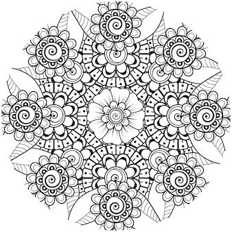 Fleur de mehndi pour la page de livre de coloriage de décoration de tatouage de mehndi au henné