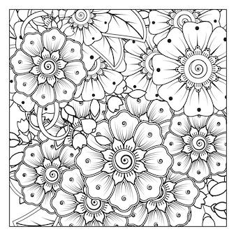 Fleur de mehndi en style oriental ethnique doodle ornement contour main dessiner illustration livre de coloriage page