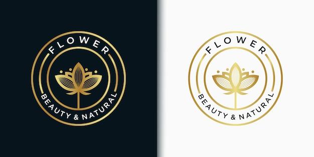 Fleur de modèle de logo emblème élégant pour la beauté, cosmétique, yoga, mariage, spa, salon, boutique et autres produits de beauté