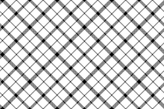 Fleur de modèle sans couture de pixel blanc noir écossais tartan