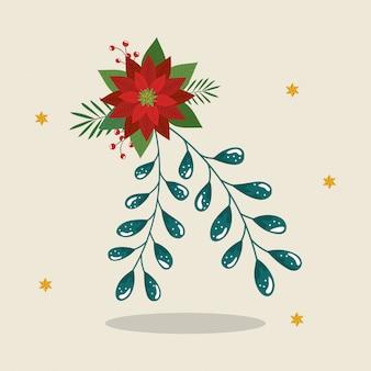 Fleur de noel décoratif avec étoiles