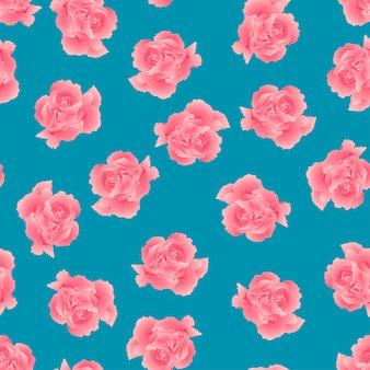 Fleur d'oeillet rose sur fond bleu.