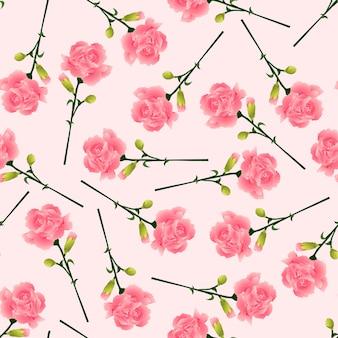 Fleur d'oeillet rose sur fond rose