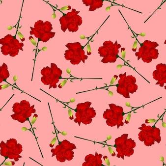 Fleur d'oeillet rouge sur fond rose