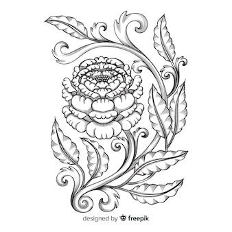 Fleur d'ornement dessiné à la main