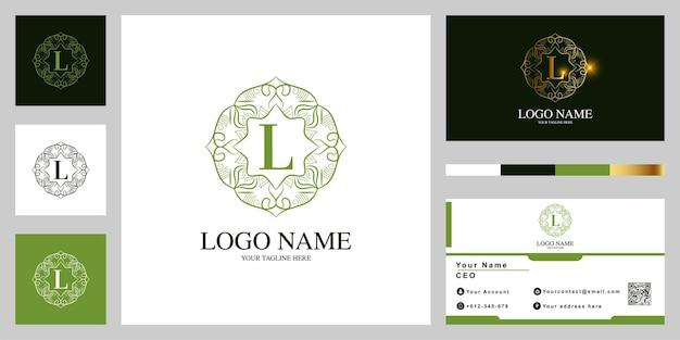 Fleur d'ornement de luxe lettre l ou conception de modèle de logo cadre mandala avec carte de visite.