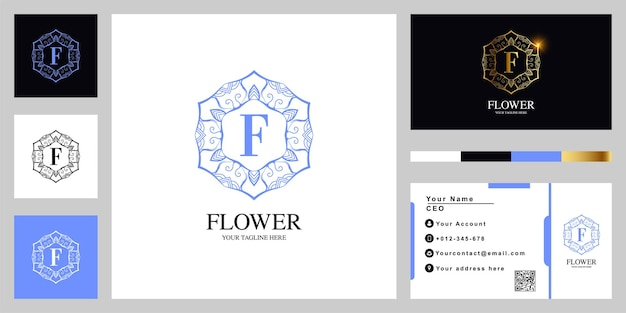 Fleur d'ornement de luxe lettre f ou conception de modèle de logo cadre mandala avec carte de visite.