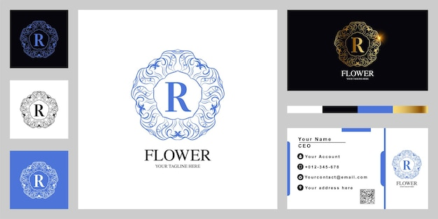Fleur d'ornement de luxe lettre r ou conception de modèle de logo cadre mandala avec carte de visite.