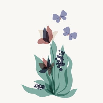 Fleur et papillon de superposition abstraite