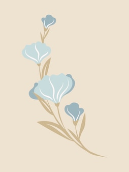 Fleur pastel, illustration vectorielle de printemps design plat clipart