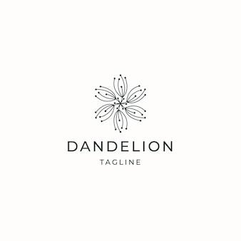 Fleur de pissenlit logo icône design modèle vecteur plat