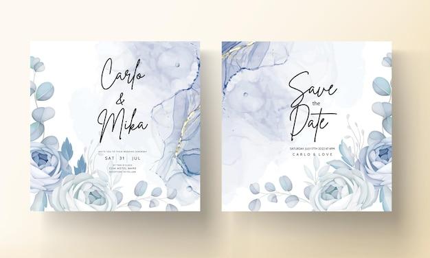 Fleur de pivoine bleue élégante et conception de cartes d'invitation de mariage