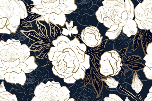 Fleur de pivoine d'or de luxe avec motif sans couture de fond bleu pour le papier peint et l'impression d'invitation de mariage en tissu