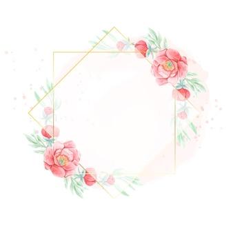 Fleur de pivoine rouge aquarelle avec cadre doré géométrique sur fond aquarelle