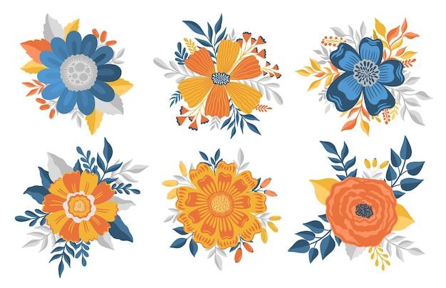 Fleur plante feuille abstraite stylizationflat fleur floral design élégant isolé sur fond blanc