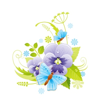 Fleur de printemps. symbole floral de pensée alto avec feuille, herbe, papillon.