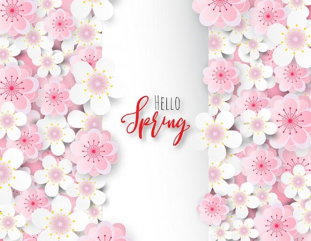 Fleur de prunier ou fleur de cerisier avec carré blanc.