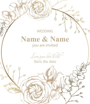 Fleur rose autour du dessin au trait. invitation de mariage de style rétro vintage ou salutations