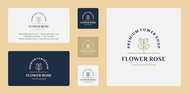 Fleur rose boutique logo design rétro pour fleuriste