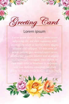 Fleur rose avec cadre doré pour carte de voeux carte de mariage carte d'invitation logo etc.