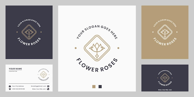 Fleur rose, fleuriste, vintage de conception de logo de fleuriste
