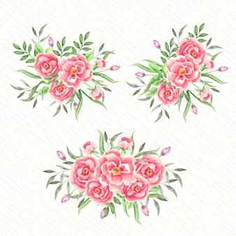 Fleur rose floral vintage avec bouquet aquarelle de bourgeons