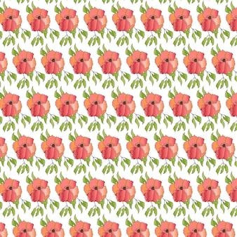 Fleur rose pâle avec des feuilles vertes pattern design sans couture