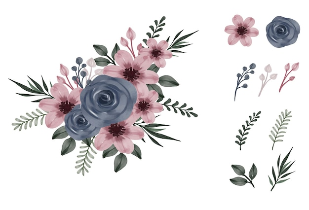 Fleur rose poussiéreuse et roses marines avec collection de feuilles de bourgeons de branche de fleur