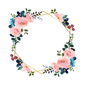 Fleur rose verte aquarelle avec cadre doré géométrique