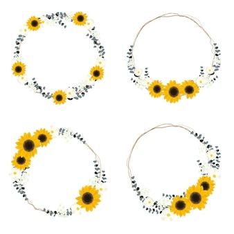 Fleur sauvage de tournesol jaune et feuille d'eucalyptus sur brindille sèche bouquet cercle couronne cadre collection style plat