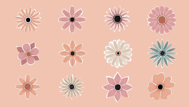 Fleur simple abstrait dessinés à la main diverses formes de fleurs sauvages. botanical nature fleurs objets vecteur tendance moderne contemporain. collection d'illustration d'éléments.