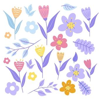 Fleur simple plat, collection botanique dessinée à la main isolée sur fond blanc. ensemble d'éléments floraux et d'herbes. vecteur.
