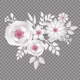 Fleur de style papier découpé