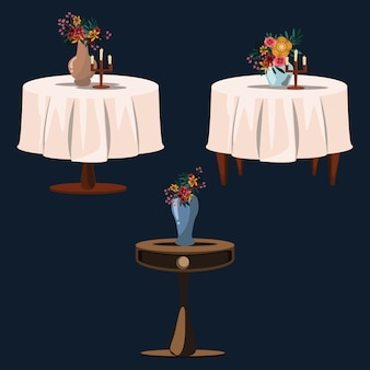 Fleur sur les tables set vector illustration
