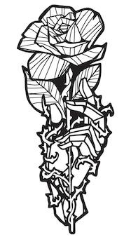 Fleur de tatouage à la main