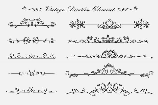Fleur tourbillonne diviseur séparateur ornements vintage élément de décoration