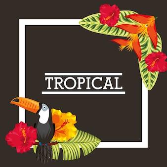 Fleur tropicale laisse carte d'animal