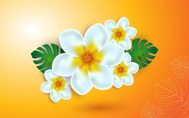 Fleur tropicale plumeria fleur de frangipanier fleur de vecteur 3d illustration