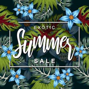 Fleur tropicale pour illustration affiche de l'été