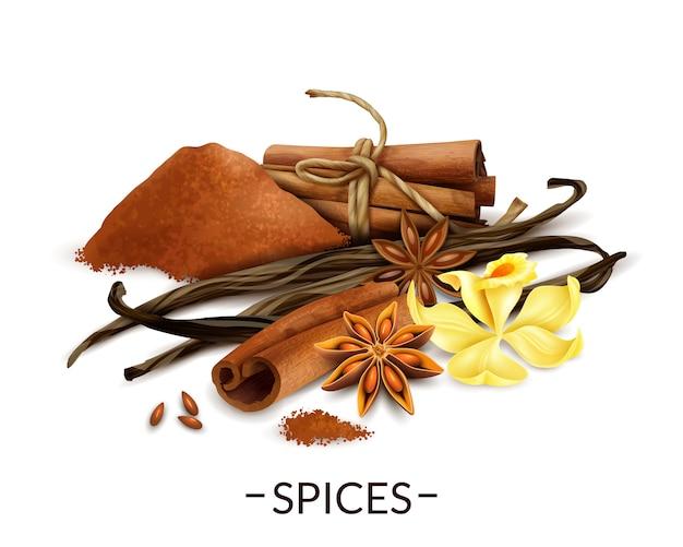 Fleur de vanille et haricots secs avec de la poudre de cannelle et des bâtons d'anis étoilé