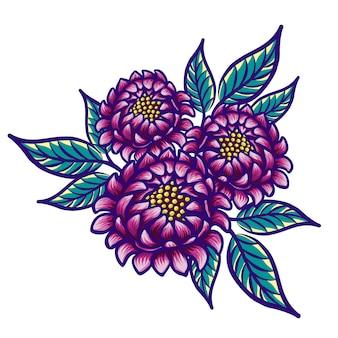 Fleur vintage dessinée à la main florale