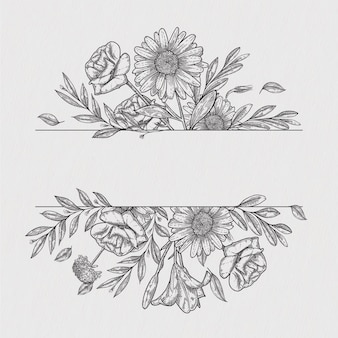 Fleur vintage frontière vecteur roses dessin à la main botanique