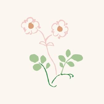 Fleur vintage, vecteur de conception mignon