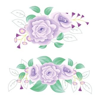 Fleur violette fraîche avec des feuilles