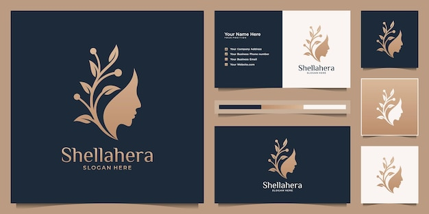 Fleur De Visage De Femme Minimaliste Avec Logo Dégradé Doré Et Conception De Carte De Visite. Vecteur Premium
