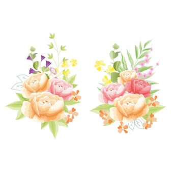 Fleurit la pivoine rouge et orange avec une fleur supplémentaire rosâtre