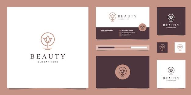 Fleurs abstraites élégantes inspirant la beauté, le yoga et le spa. création de logo et carte de visite
